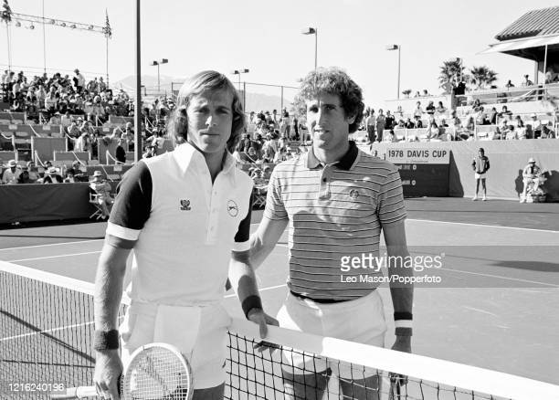 John Lloyd of Great Britain and Brian Gottfried of the United States pose before their match during the 1978 Davis Cup Final at the Mission Hills...
