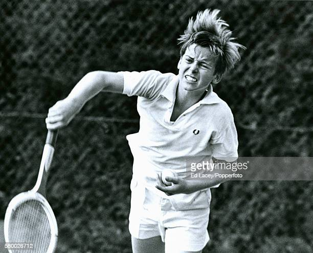 John Lloyd of Great Britain in action during the Junior Wimbledon tournament at the All England Lawn Tennis Club in Wimbledon London 11th September...