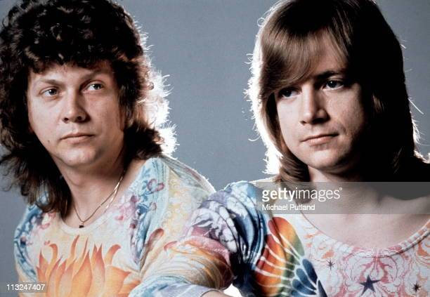 John Lodge and Justin Hayward of the Moody Blues studio portrait while in side band Blue Jays London 1975