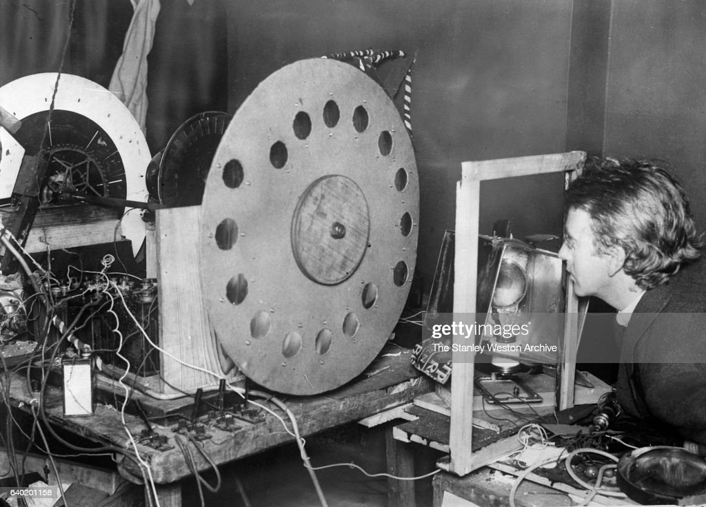John Logie Baird, the inventor of television, with his transmitting station, transmitting disc, March 19. 1925.