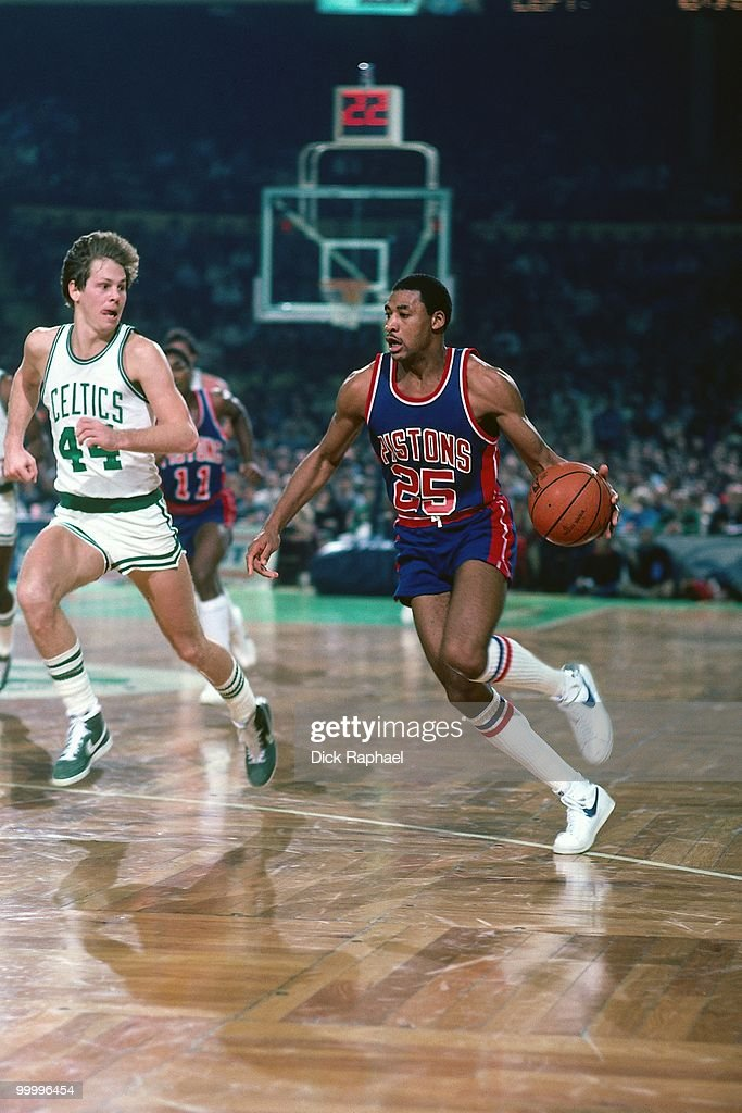 John Long #25 of the Detroit Pistons drives the ball up court against Danny AInge #44 of the Boston Celtics during a game played in 1983 at the Boston Garden in Boston, Massachusetts.