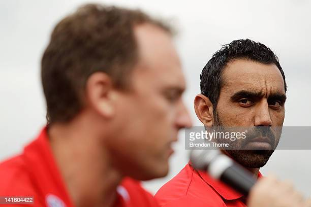 John Longmire and Adam Goodes of the Swans speak with the media during the launch of the Sydney Derby trophy at Luna Park on March 20, 2012 in...