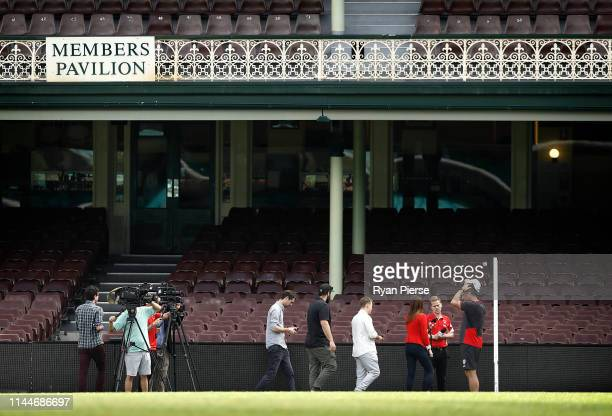 John Longmire coach of the Swans speaks to the media during a Sydney Swans AFL training session at the Sydney Cricket Ground on April 24 2019 in...