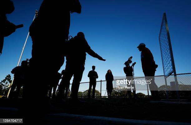 John Longmire coach of the Swans speaks to the media during a Sydney Swans AFL training session at Lakeside Oval on July 07 2020 in Sydney Australia