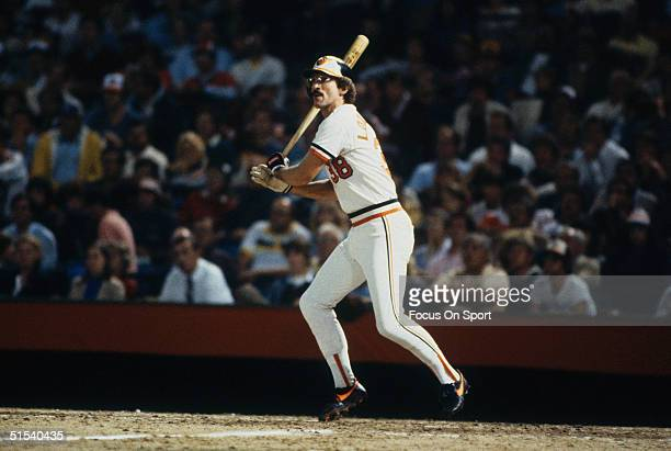 John Lowenstein of the Baltimore Orioles bats against the Philadelphia Phillies during the World Series at Memorial Stadium in Baltimore Maryland in...