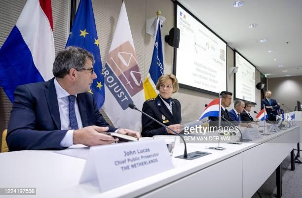 John Lucas and Jannine van den Berg give a press conference at the Eurojust office, on the dismantling of an encrypted criminal communication...