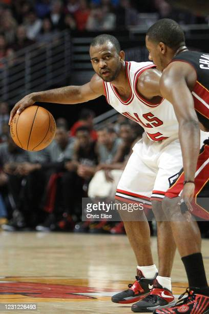 John Lucas III of the Chicago Bulls dribbles the ball during the game against the Miami Heat on March 14, 2012 at the United Center, Chicago,...
