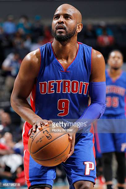 John Lucas III of the Detroit Pistons attempts a free throw shot against the Charlotte Hornets on April 1 2015 at Time Warner Cable Arena in...