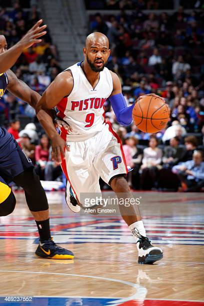 John Lucas III of the Detroit Pistons drives to the basket against the Indiana Pacers during the game on April 10 2015 at The Palace of Auburn in...