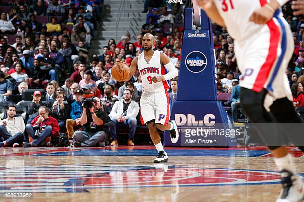 John Lucas III of the Detroit Pistons drives up the court against the Miami Heat during the game on April 4, 2015 at The Palace of Auburn Hills in...