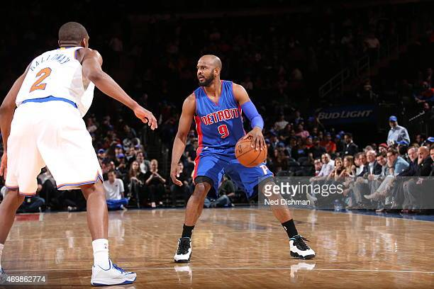 John Lucas III of the Detroit Pistons handles the ball against Langston Galloway of the New York Knicks on April 15 2015 at Madison Square Garden in...