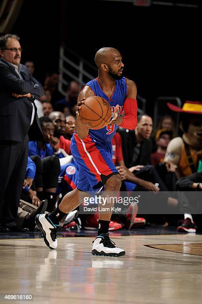 John Lucas III of the Detroit Pistons handles the ball against the Cleveland Cavaliers at The Quicken Loans Arena on April 13 2015 in Cleveland Ohio...