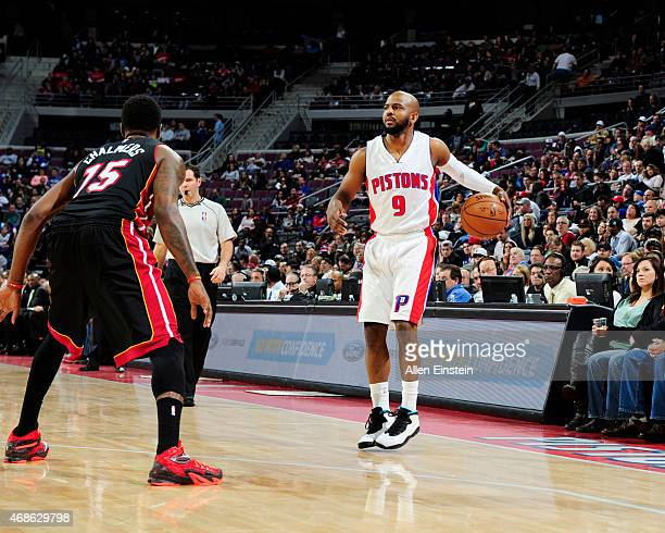 John Lucas III of the Detroit Pistons looks to move the ball against the Miami Heat during the game on April 4 2015 at The Palace of Auburn Hills in...