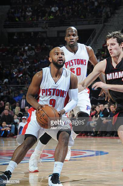 John Lucas III of the Detroit Pistons looks to move the ball against the Miami Heat during the game on April 4, 2015 at The Palace of Auburn Hills in...