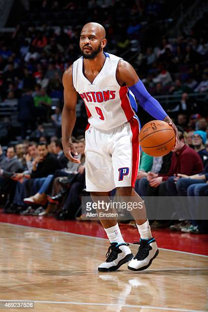 John Lucas III of the Detroit Pistons looks to move the ball against the Indiana Pacers during the game on April 10 2015 at The Palace of Auburn in...