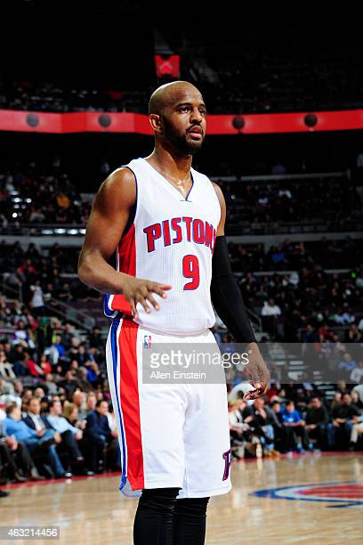 John Lucas III of the Detroit Pistons stands on the court during a game against the San Antonio Spurs on February 11, 2015 at Palace of Auburn Hills...