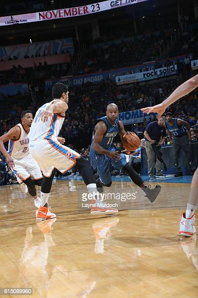 John Lucas III of the Minnesota Timberwolves drives to the basket against the Oklahoma City Thunder on October 16 2016 at Chesapeake Energy Arena in...
