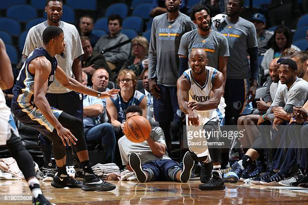 John Lucas III of the Minnesota Timberwolves passes the ball against the Memphis Grizzlies during an NBA preseason game on October 19 2016 at Target...