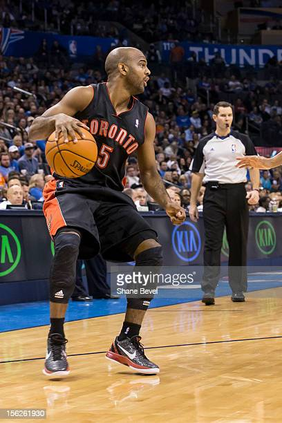 John Lucas III of the Toronto Raptors in action against the Oklahoma City Thunder during the NBA basketball game on November 6, 2012 at the...