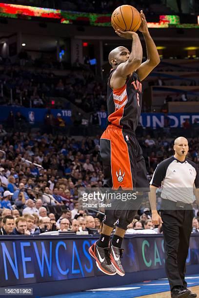 John Lucas III of the Toronto Raptors shoots against the Oklahoma City Thunder during the NBA basketball game on November 6, 2012 at the Chesapeake...