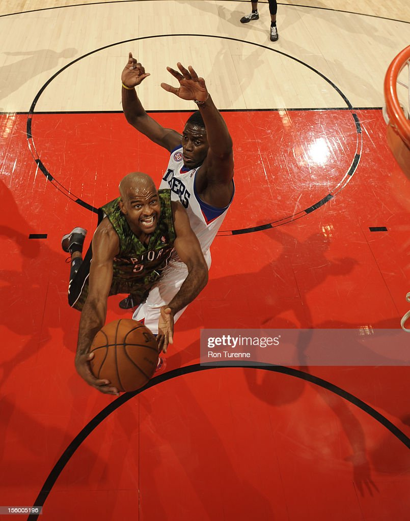 John Lucas #5 of the Toronto Raptors drives to the basket during the game against the Philadelphia 76ers on November 10, 2012 at the Air Canada Centre in Toronto, Ontario, Canada.