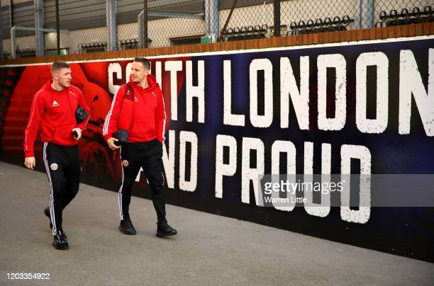 John Lundstram and Phil Jagielka of Sheffield United arrive at the stadium prior to the Premier League match between Crystal Palace and Sheffield...