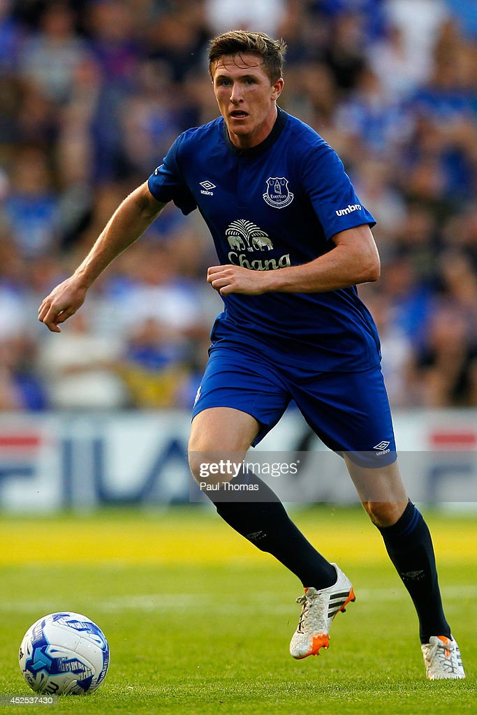 John Lundstram of Everton in action during the Pre Season Friendly between Tranmere Rovers and Everton at Prenton Park on July 22, 2014 in Birkenhead, England.