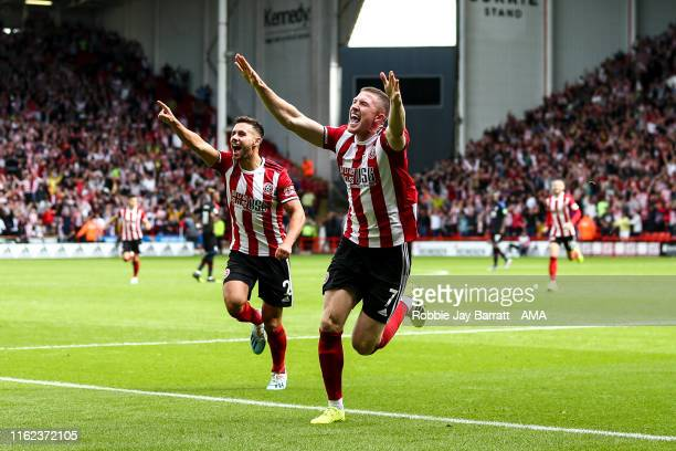 John Lundstram of Sheffield United celebrates after scoring a goal to make it a 1-0 during the Premier League match between Sheffield United and...