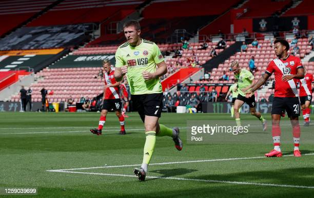 John Lundstram of Sheffield United celebrates after scoring his team's first goal during the Premier League match between Southampton FC and...