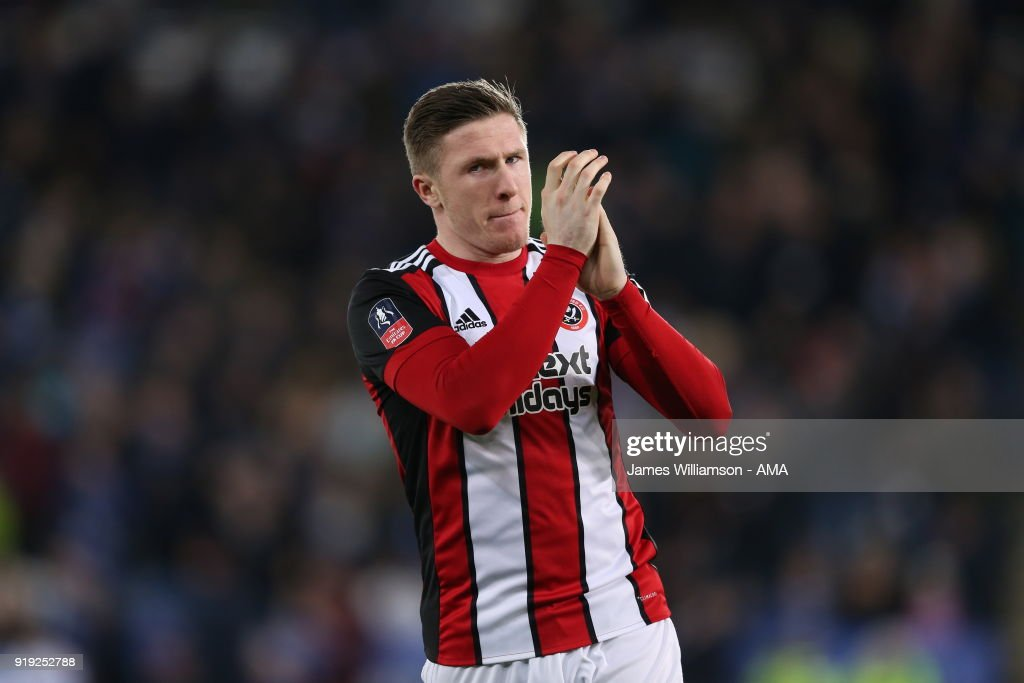 John Lundstram of Sheffield United during the Emirates FA Cup Fifth Round match between Leicester City and Sheffield United at The King Power Stadium on February 16, 2018 in Leicester, England.