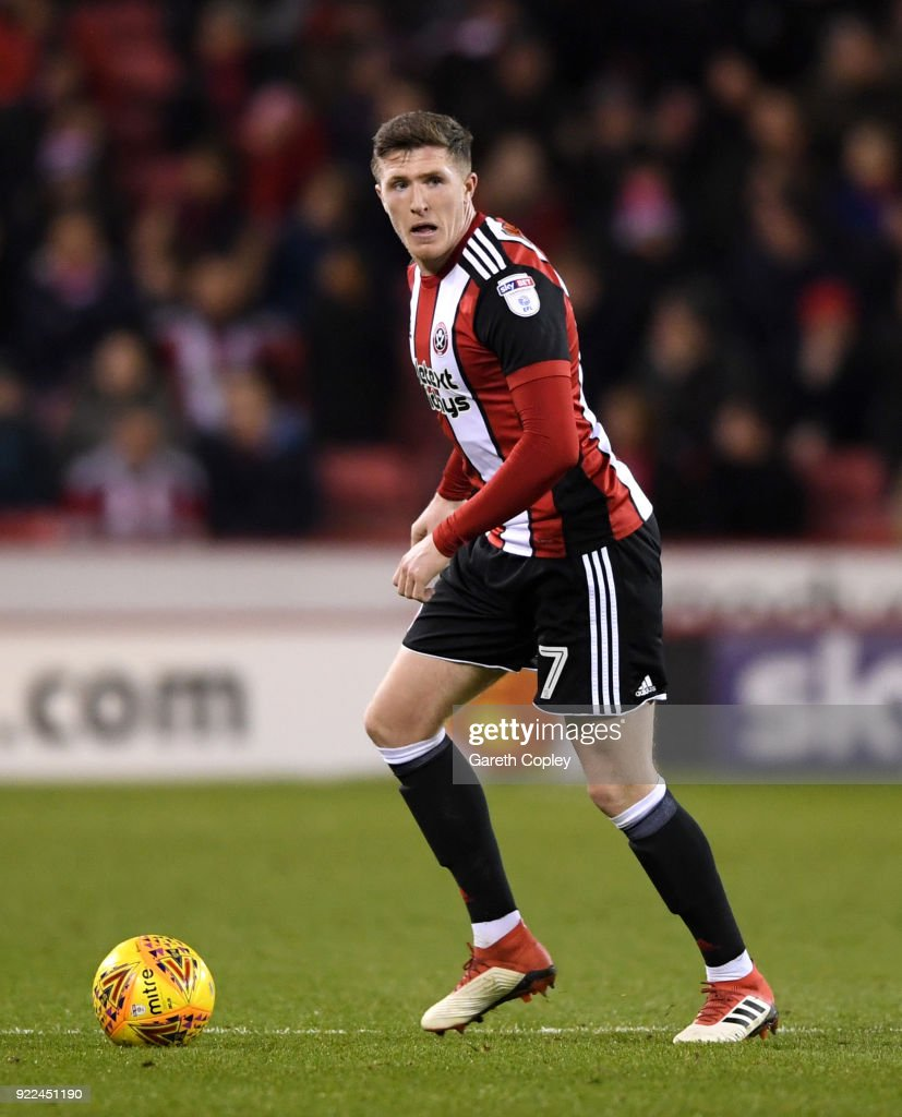 John Lundstram of Sheffield United during the Sky Bet Championship match between Sheffield United and Queens Park Rangers at Bramall Lane on February 20, 2018 in Sheffield, England.