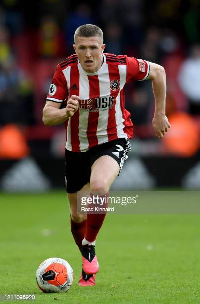 John Lundstram of Sheffield United in action during the Premier League match between Sheffield United and Norwich City at Bramall Lane on March 07...
