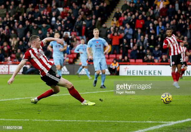 John Lundstram of Sheffield United scores his team's second goal during the Premier League match between Sheffield United and Burnley FC at Bramall...