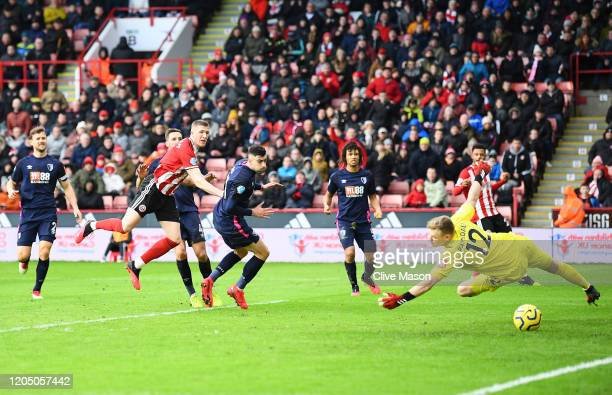 John Lundstram of Sheffield United scores his team's second goal during the Premier League match between Sheffield United and AFC Bournemouth at...