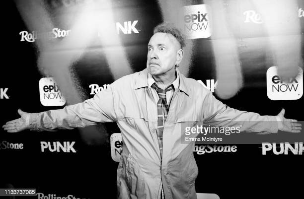 John Lydon aka Johnny Rotten arrives at the premiere of Epix's Punk at SIR on March 04 2019 in Los Angeles California