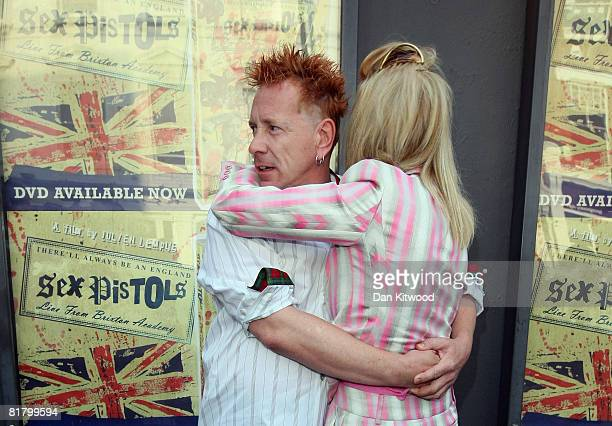 John Lydon and his wife Nora Forster arrive to the screening of 'There Will Always Be An England' at the Screen on The Green cinema on July 1 2008 in...