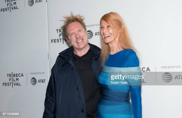 John Lydon and Nora Forster attend The Public Image is Rotten Premiere during 2017 Tribeca Film Festival at Spring Studios on April 21 2017 in New...