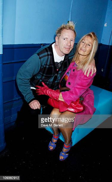 John Lydon and wife Nora Forster pose backstage at the Shockwaves NME Awards 2011 winners boards at Brixton Academy on February 23 2011 in London...