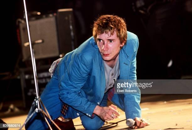 John Lydon of Public Image Ltd performing at the Palladium in New York City on April 19 1980