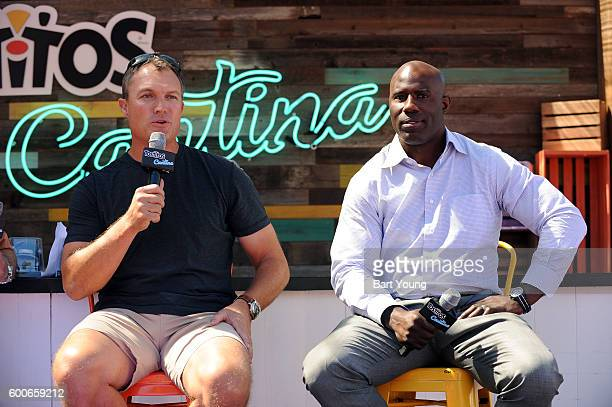 John Lynch and Terrell Davis answer questions at the Tostitos Stage at the NFL Kickoff Village on September 9 2016 in Denver Colorado