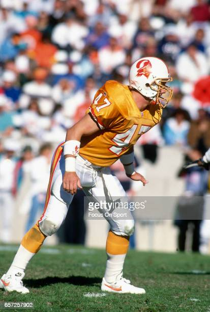 John Lynch of the Tampa Bay Buccaneers in action during an NFL football game circa 1993 at Tampa Stadium in Tampa Bay Florida Lynch played for the...