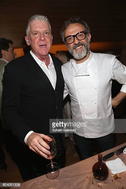 John Lyons and Massimo Bottura attend Edible Schoolyard NYC Annual Harvest Dinner with Chef Massimo Bottura Hosted by Lela Rose at Private Residence...
