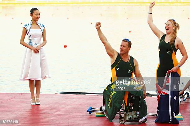 John Maclean and Kathryn Ross of Australia celebrate on the podium after winning the Silver in the Rowing Mixed Double Sculls TA at Shunyi Olympic...