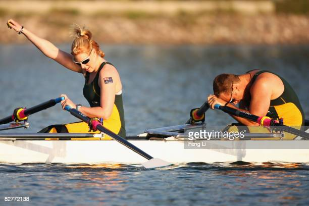 John Maclean and Kathryn Ross of Australia celebrate winning the Silver in the Rowing Mixed Double Sculls TA at Shunyi Olympic RowingCanoeing Park...