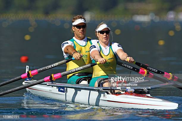 John Maclean and Kathryn Ross of Australia compeate in the TAMix2x Adaptive class heats during day two of the FISA Rowing World Championships at Lake...