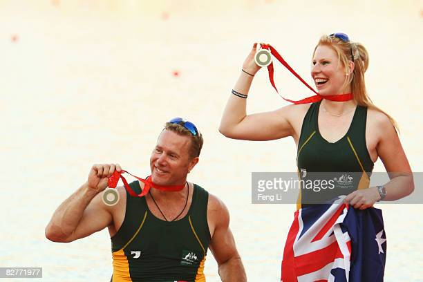 John Maclean and Kathryn Ross of Australia win the Silver in the Rowing Mixed Double Sculls TA at Shunyi Olympic RowingCanoeing Park during day five...