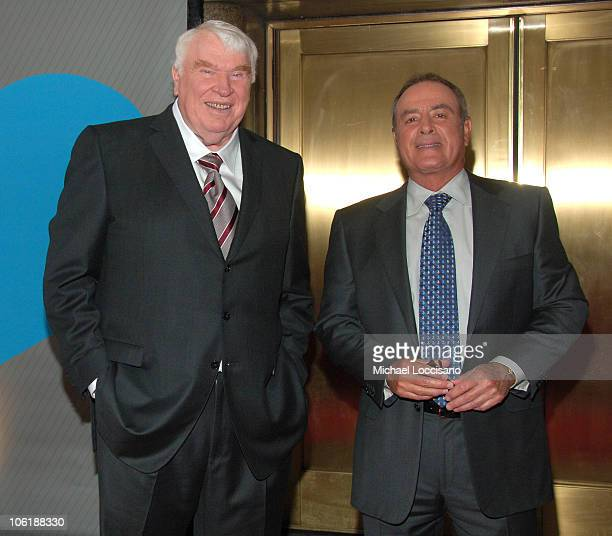 John Madden and Al Michaels during NBC 20072008 Primetime Preview Red Carpeti Upfronts Arrivals at Radio City Music Hall in New York City New York...
