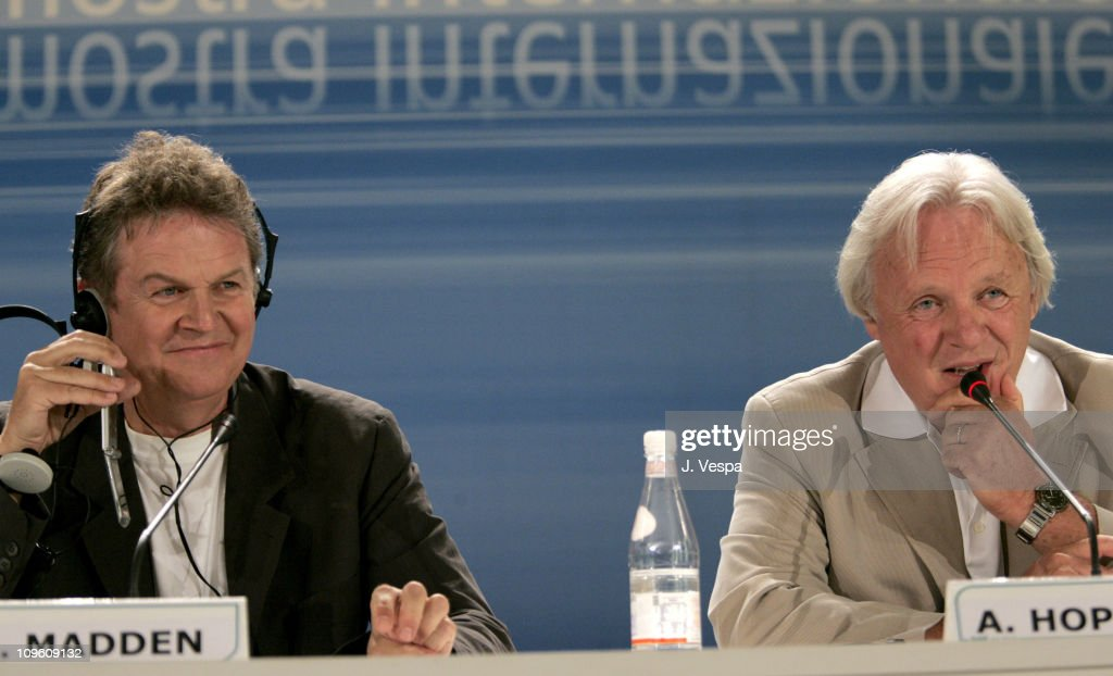 John Madden and Anthony Hopkins during 2005 Venice Film Festival - 'Proof' Press Conference at Casino Palace in Venice Lido, Italy.