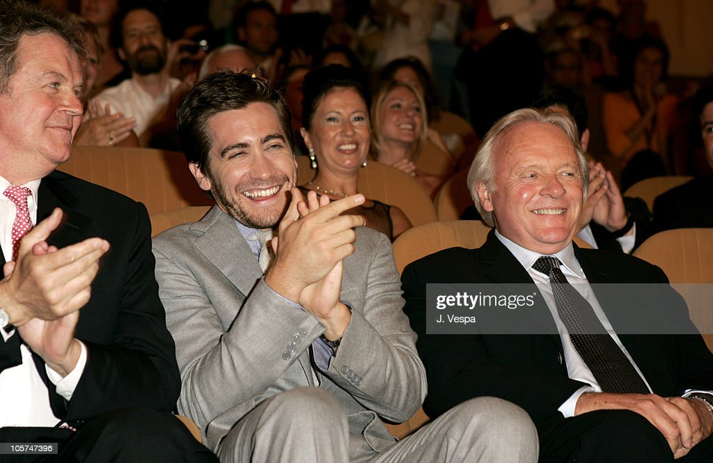 John Madden , Anthony Hopkins and Jake Gyllenhaal during 2005 Venice Film Festival - 'Proof' Premiere - Inside at Palazzo del Cinema in Venice Lido, Italy.