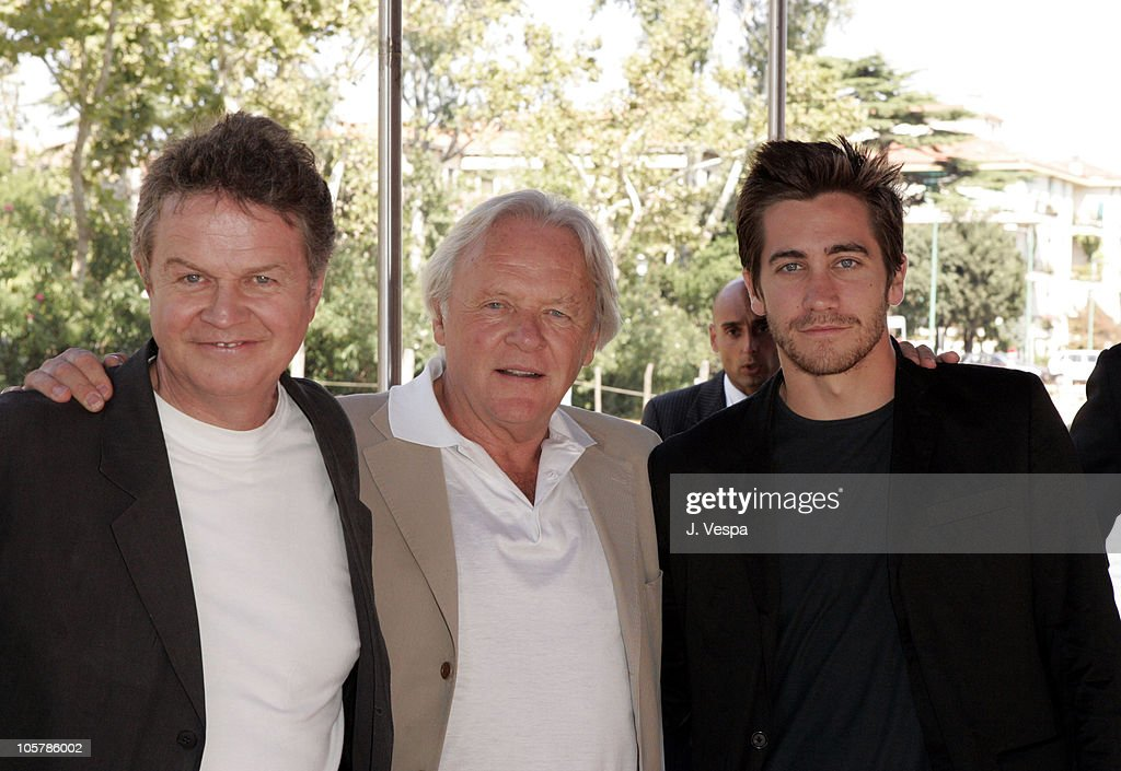 John Madden, Anthony Hopkins and Jake Gyllenhaal during 2005 Venice Film Festival - 'Proof' Photocall - Arrivals at The Westin Excelsior in Venice Lido, Italy.